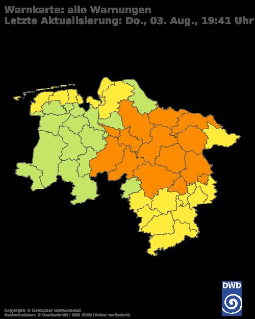 Aktuelle Wetterwarnungen für Lüchow-Dannenberg